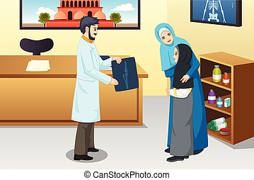Girl with Broken Arm at Doctor Office Illustration