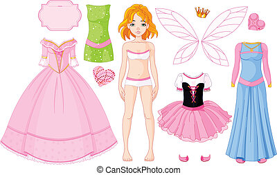 Paper Doll with different princess dresses