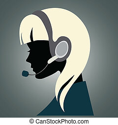 Illustration of a young girl with headset