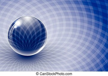 Glass ball on blue abstract background.