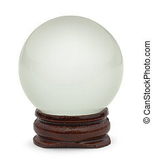 Glass Crystal Ball on Wood Base Isolated on White Background.