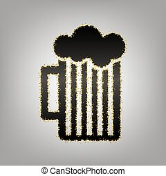 Glass of beer sign. Vector. Blackish icon with golden stars at g