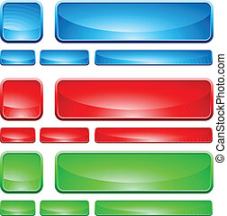 Glass shapes, button. Isolated on white background. Vector illustration.