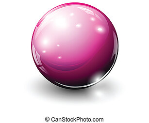 Glass sphere pink, vector illustration.