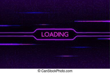 Glitch neon loading. Cyberpunk futuristic concept. Purple and blue glowing lights on dark pixel background. Creative design with color lines. Neon effect. Vector illustration