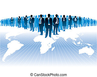 Businesspeople are standing on a large world map. The base map is from Central Intelligence Agency Web site.
