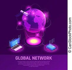 Global Network Isometric Glowing Composition