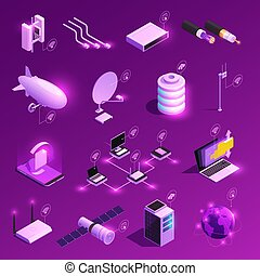 Global Network Isometric Icons