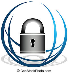 An image of a globe and padlock security icon.