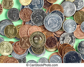 World currencies from all continents - mostly uncirculated coins made of different metals. Global cooperation.