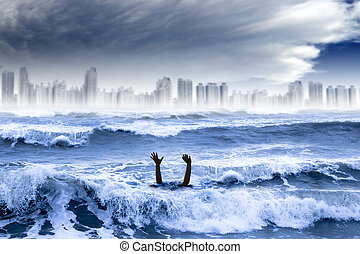global warming and extreme weather concept. man drowning in the water and storm destroyed the city