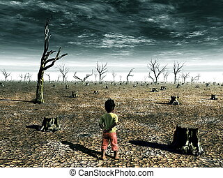 Global Warming Illustration with a little girl looking at a dead forest