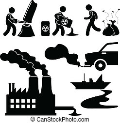 A set of pictogram representing global warming, illegal pollution, and man destroying the green environment.