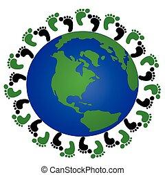 globe and footprint