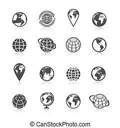 Globe black and white earth world globe symbol icons set vector illustration