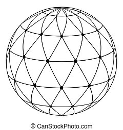 globe radial pattern triangles