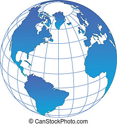 Globe icon with vector of the world