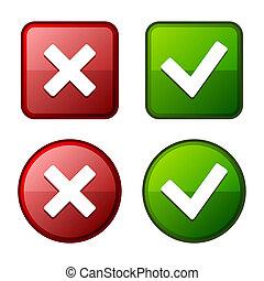Glossy Check Mark Stickers and Buttons. Red and Green. Vector Illustration