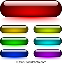 Vector set of glossy glowing buttons isolated on white background.