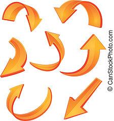 Set of glossy orange arrow icons for web design