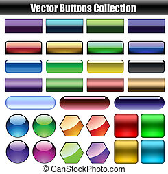 Glossy web buttons vector collection