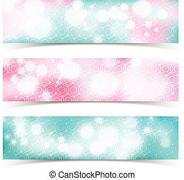 Glowing Abstract Banner Set