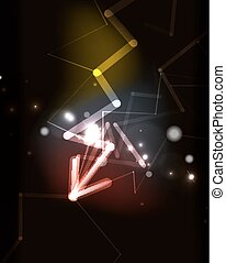 Glowing arrow in dark space