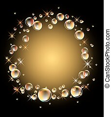 Magic glowing background with bubbles and shining stars
