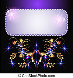 Glowing background with stars and golden ornament