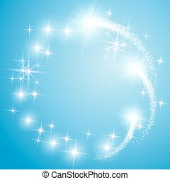 Glowing blue background with stars