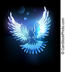 glowing blue dove
