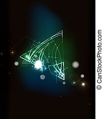 Glowing elements in dark space