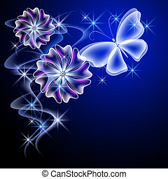 Glowing flowers and butterfly