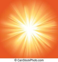 Glowing light yellow orange burst