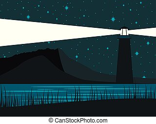 Glowing lighthouse against the background of the starry sky. The night shore of the sea. Vector illustration