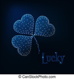 Glowing low poly shamrock and text lucky on dark blue background.