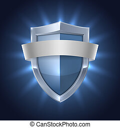 Glowing shield with blank ribbon safety badge on black isolated vector illustration