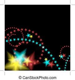Glowing Star Fireworks Background