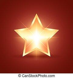 Golden glowing star on dark red background