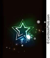 Glowing star in dark space