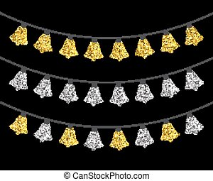 Gold and silver textured Christmas lights set