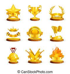 Gold awards, vector set