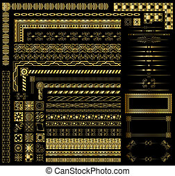 Decorative gold invitation and menu border elements