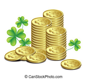 Gold coins and leaves of clover, St