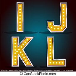 Commercial free font with gold shinning lamps, vector illustrator EPS10 can be scaled to any size without loss of resolution. Please use vector editor such as Adobe Illustrator to edit.