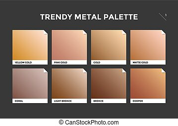 Gold, copper and bronze gradient template. Collection palette of colorful metallic gradient illustrations for backgrounds and textures. Realistic metallic squares palettes. Vector Illustration