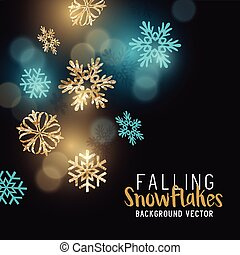 Gold glittering winter snowflakes - decoration background. Vector illustration.