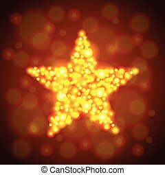 Gold glowing star vector background