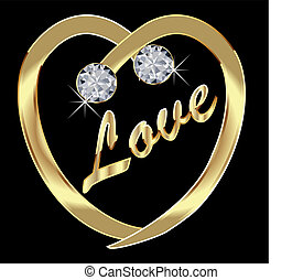 Gold Heart with diamonds and bling