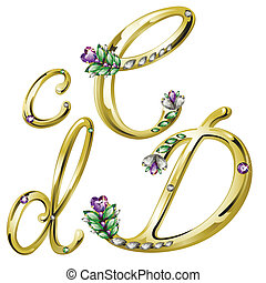 Vector Volume shiny gold alphabet with floral details from diamonds and gems, letters C,D